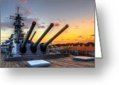 Operation Desert Storm Greeting Cards - The USS Missouris Last Days Greeting Card by Jason Chu