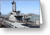 Submarines Greeting Cards - The USS Pampanito Submarine At Fishermans Wharf With Alcatraz in the Distance.San Francisco.7D14420 Greeting Card by Wingsdomain Art and Photography