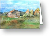 Schoolhouse Painting Greeting Cards - The Vacant Schoolhouse Greeting Card by Arline Wagner