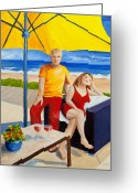Beach Umbrella Painting Greeting Cards - The Vacationers Greeting Card by Michelle Wiarda
