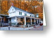 Colorful Digital Art Greeting Cards - The Valley Green Inn in Autumn Greeting Card by Bill Cannon