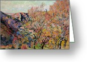 Reds Of Autumn Greeting Cards - The Valley of the Sedelle in Crozant Greeting Card by Jean Baptiste Armand Guillaumin