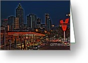Photographers Ellipse Greeting Cards - The Varsity Atlanta Greeting Card by Corky Willis Atlanta Photography