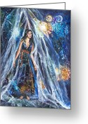 Portal Mixed Media Greeting Cards - The Veil is Parted The Three Fates II Greeting Card by Patricia Allingham Carlson
