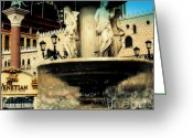 Landmarks Of Usa Greeting Cards - The Venetian Fountain in Las Vegas Greeting Card by Susanne Van Hulst
