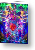 Fineartprint Greeting Cards - The Vibrant Heart Greeting Card by Rayofra Ra