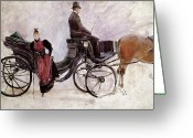Coaching Greeting Cards - The Victoria Greeting Card by Jean Beraud