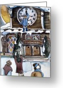 Clock Drawings Greeting Cards - The Village Clock Greeting Card by Mindy Newman