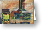 Squares Tapestries - Textiles Greeting Cards - The Village Greeting Card by Judy Sauer