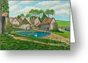 Pond Painting Greeting Cards - The Village Pond in Wroxton Greeting Card by Charlotte Blanchard