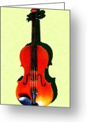 Classical Music Art Greeting Cards - The Violin . Light Version . Painterly Greeting Card by Wingsdomain Art and Photography