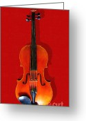 Violin Digital Art Greeting Cards - The Violin . Red Version . Painterly Greeting Card by Wingsdomain Art and Photography