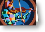Player Greeting Cards - The Violinist Greeting Card by Mark Webster