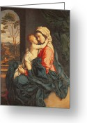 Oil Canvas Greeting Cards - The Virgin and Child Embracing Greeting Card by Giovanni Battista Salvi