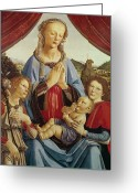 Egg Tempera Painting Greeting Cards - The Virgin and Child with Two Angels Greeting Card by Andrea del Verrocchio