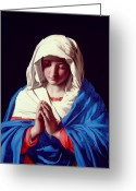 Faith Greeting Cards - The Virgin in Prayer Greeting Card by Il Sassoferrato