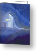 Jesus Painting Greeting Cards - The Virgin Mary cared for her child Jesus with simplicity and joy Greeting Card by Elizabeth Wang 