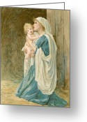 Baby Jesus Greeting Cards - The Virgin Mary with Jesus Greeting Card by John Lawson