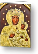 Byzantine Icon Greeting Cards - The Virgin Queen of Heaven  Greeting Card by Alexandra Jordankova