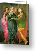 Embracing Greeting Cards - The Visitation Greeting Card by Jacopo Pontormo