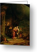 Oil Greeting Cards - The Visitation Greeting Card by  Rembrandt Harmensz van Rijn