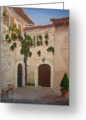 Nun Greeting Cards - The Visitor in Assisi Greeting Card by Brett McGrath