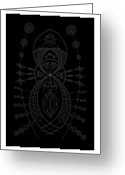 Mayan Art Greeting Cards - The Visitor Inverse Greeting Card by Dean Caminiti