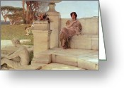 Sacrificial Greeting Cards - The Voice of Spring Greeting Card by Sir Lawrence Alma-Tadema