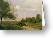 1796 Greeting Cards - The Wagon Greeting Card by Jean Baptiste Camille Corot