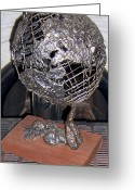 World Sculpture Greeting Cards - The Wait Of The World Greeting Card by Timothy  Foley