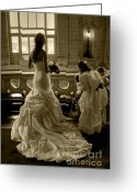 Bridesmaid Greeting Cards - The Waiting Bride Greeting Card by Sophie De Roumanie