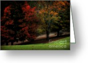 Red Leaves Pastels Greeting Cards - The Walk to Remember Greeting Card by Lj Lambert