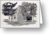 National Drawings Greeting Cards - The Walker Sisters Cabin Greeting Card by Nancy Hilgert