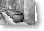 Clay Greeting Cards - The Wall of Pots Greeting Card by Sandra Bronstein