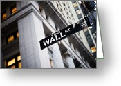 Of Buildings Greeting Cards - The Wall Street Street Sign Greeting Card by Justin Guariglia