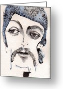The Beatles Mixed Media Greeting Cards - The Walrus as Paul McCartney Greeting Card by Mark M  Mellon