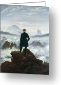 Above The Clouds Greeting Cards - The Wanderer above the Sea of Fog Greeting Card by Caspar David Friedrich