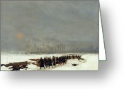 1871 Greeting Cards - The War of 1870 An Infantry Column on their Way to a Raid Greeting Card by Jean-Baptiste Edouard Detaille