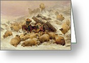 Shepherd Painting Greeting Cards - The Warmth of a Wee Dram Greeting Card by TS Cooper