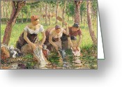 Daily Life Greeting Cards - The Washerwomen Greeting Card by Camille Pissarro