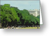 Street Scene Greeting Cards - The Washington DC Mall Greeting Card by Russ Harris