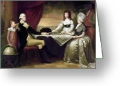(first Lady) Greeting Cards - The Washington Family Greeting Card by Granger