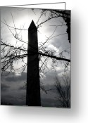 Usa Pyrography Greeting Cards - The Washington Monument - Black and White Greeting Card by Fareeha Khawaja