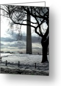 Winter Photos Pyrography Greeting Cards - The Washington Monument - II Greeting Card by Fareeha Khawaja