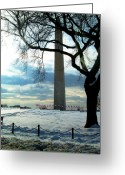 Winter Photos Pyrography Greeting Cards - The Washington Monument - III Greeting Card by Fareeha Khawaja