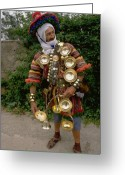 Rabat Greeting Cards - The Water Man in Morocco Greeting Card by Carl Purcell