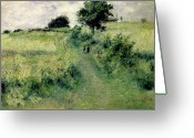 Green Field Painting Greeting Cards - The Watering Place Greeting Card by Renoir