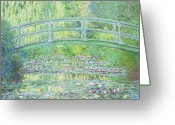 Lilies Flowers Greeting Cards - The Waterlily Pond with the Japanese Bridge Greeting Card by Claude Monet