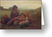 Watermelon Greeting Cards - The Watermelon Boys Greeting Card by Winslow Homer