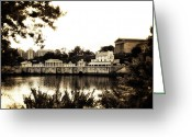 Philadelphia Museum Of Art Greeting Cards - The Waterworks in Sepia Greeting Card by Bill Cannon